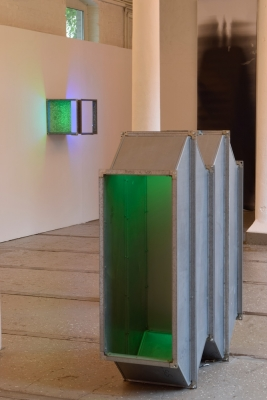 Double Whammy: galvanised steel, cold cathode, perspex, 2015